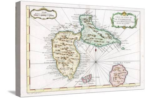 Map of the Caribbean Island of Guadeloupe, C1764--Stretched Canvas Print