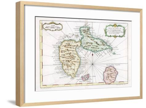 Map of the Caribbean Island of Guadeloupe, C1764--Framed Art Print
