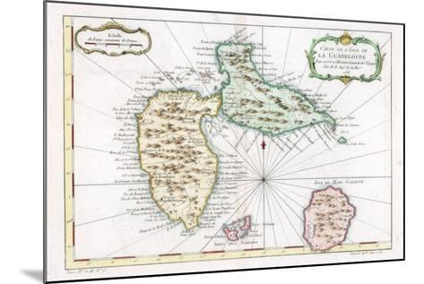 Map of the Caribbean Island of Guadeloupe, C1764--Mounted Giclee Print