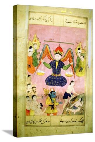 Arab Manuscript Depicting an Angel Weighing a Soul--Stretched Canvas Print