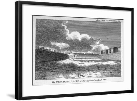 View of West India Docks, Poplar, London, 1802--Framed Art Print