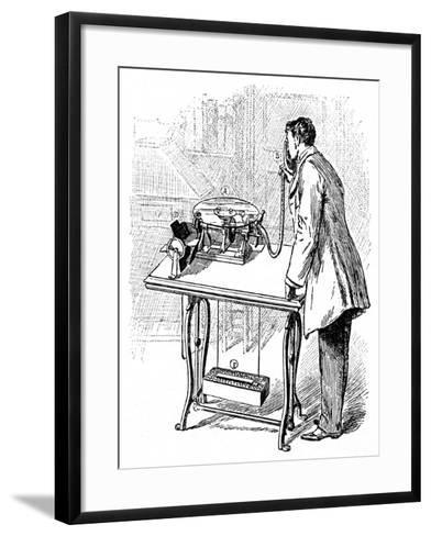 Making Recordings on Emile Berliner's Gramophone, C1887--Framed Art Print