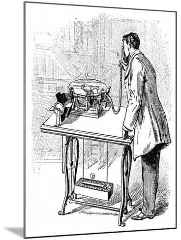 Making Recordings on Emile Berliner's Gramophone, C1887--Mounted Giclee Print