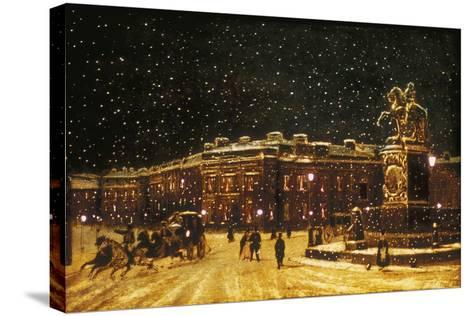 View of Snow Falling at Charing Cross at Night, C1851--Stretched Canvas Print