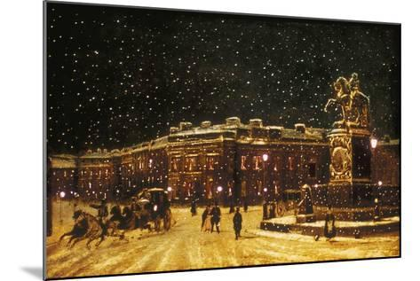 View of Snow Falling at Charing Cross at Night, C1851--Mounted Giclee Print