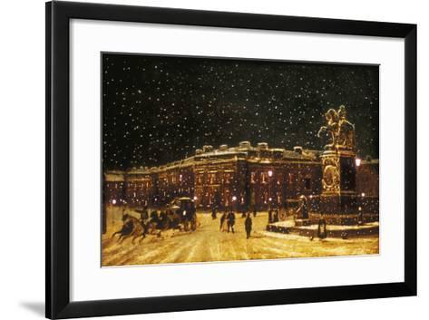 View of Snow Falling at Charing Cross at Night, C1851--Framed Art Print