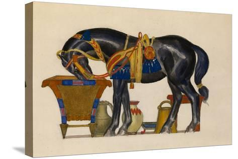 Watering Horse-L?on Bakst-Stretched Canvas Print