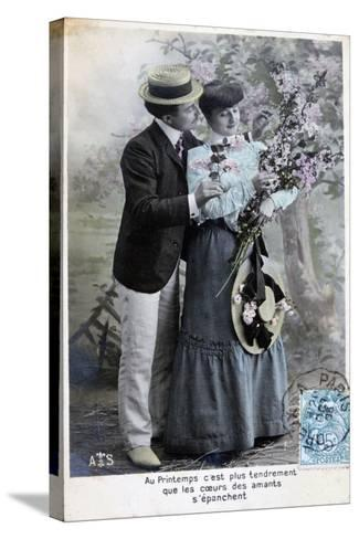 French Romantic Postcard, C1900--Stretched Canvas Print