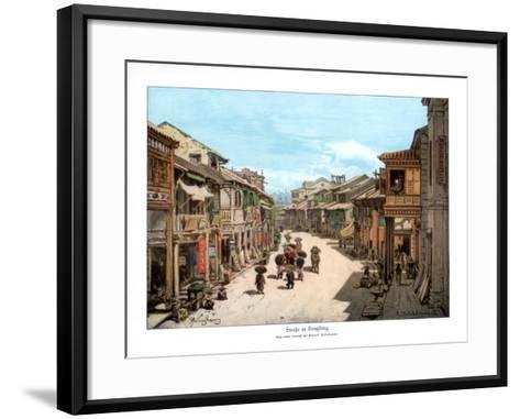 A Street in Hong Kong, 1900--Framed Art Print