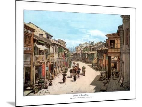 A Street in Hong Kong, 1900--Mounted Giclee Print