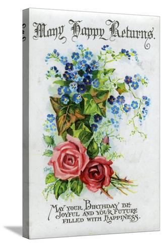 Many Happy Returns, Birthday Card, C1921--Stretched Canvas Print