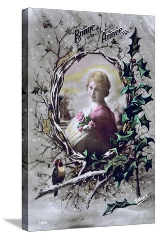 Happy New Year, French Postcard, C1900--Stretched Canvas Print