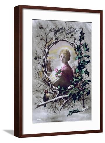 Happy New Year, French Postcard, C1900--Framed Art Print
