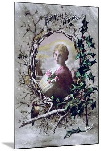 Happy New Year, French Postcard, C1900--Mounted Giclee Print