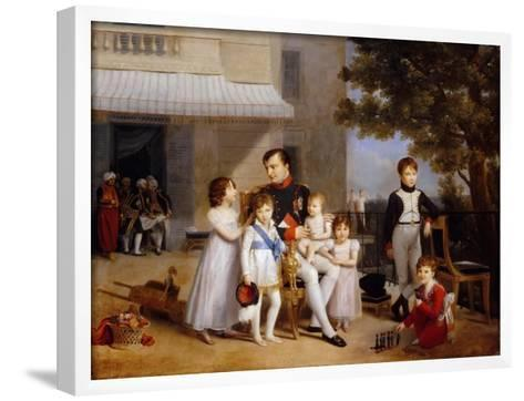 The Emperor Napoleon I on the Terrace of the Château Saint-Cloud Surrounded by His Children-Louis Ducis-Framed Art Print