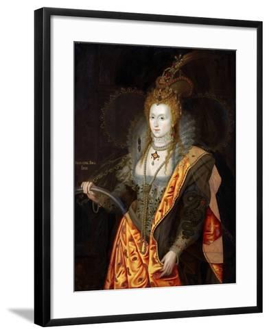 Portrait of Elizabeth I of England, in Ballet Costume as Iris-George Peter Alexander Healy-Framed Art Print