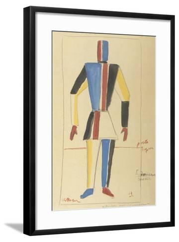 Futurist Strongman, Costume Design for the Opera Victory over the Sun after A. Kruchenykh-Kasimir Severinovich Malevich-Framed Art Print