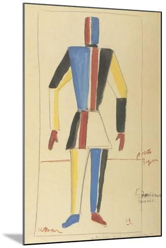 Futurist Strongman, Costume Design for the Opera Victory over the Sun after A. Kruchenykh-Kasimir Severinovich Malevich-Mounted Giclee Print