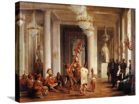 Dance by Iowa Indians in the Salon De La Paix at the Tuileries-Karl Girardet-Stretched Canvas Print