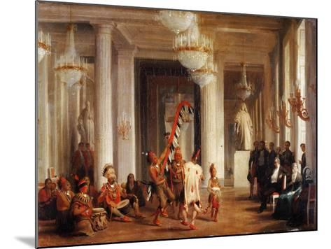 Dance by Iowa Indians in the Salon De La Paix at the Tuileries-Karl Girardet-Mounted Giclee Print