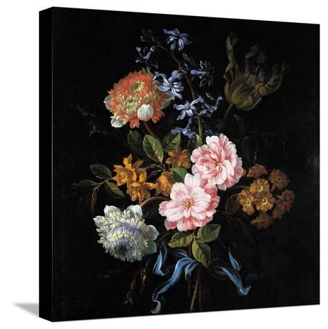 Bouquet of Poppy Anemones, Roses, Double Campernelle, Hyacinth, Tulip and Auricula-Jean-Baptiste Monnoyer-Stretched Canvas Print
