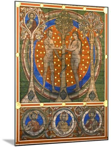 Dam and Eve. Detail of the Painted Wooden Ceiling of the St. Michael's Church, Hildesheim, Ca 1230--Mounted Giclee Print