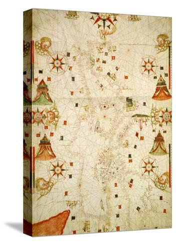Mediterranean and the Black Sea Map, 1563-Jaume Olives-Stretched Canvas Print