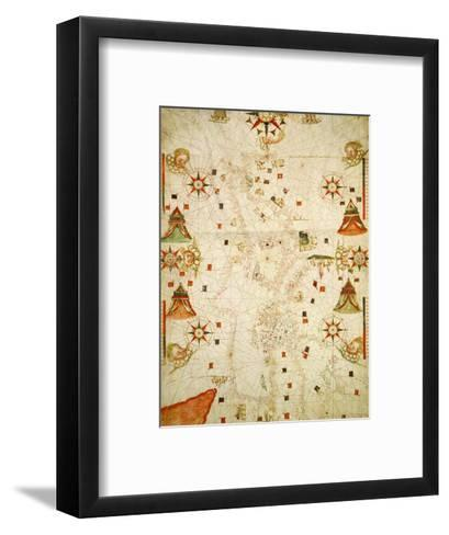 Mediterranean and the Black Sea Map, 1563-Jaume Olives-Framed Art Print