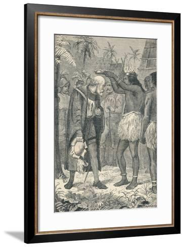 The Cacique Placing a Crown Upon the Head of Columbus, 1904--Framed Art Print