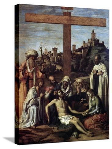 The Lamentation over Christ with a Carmelite Monk, C1510-Giovanni Battista Cima Da Conegliano-Stretched Canvas Print