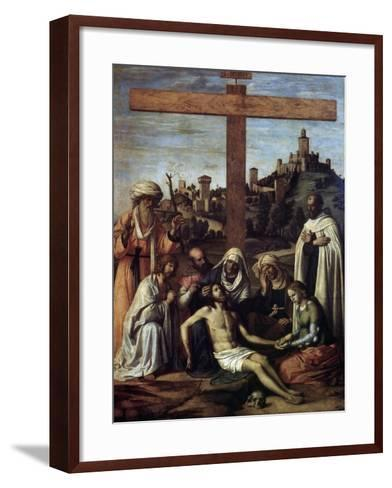 The Lamentation over Christ with a Carmelite Monk, C1510-Giovanni Battista Cima Da Conegliano-Framed Art Print