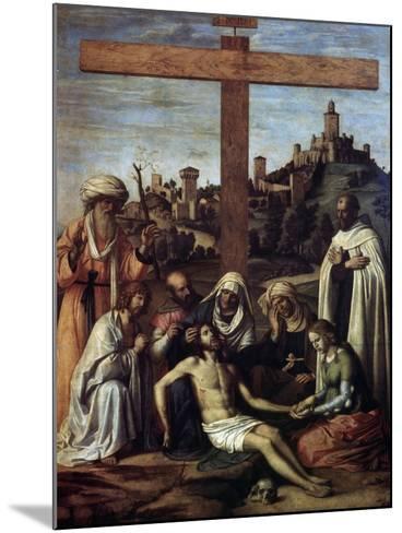 The Lamentation over Christ with a Carmelite Monk, C1510-Giovanni Battista Cima Da Conegliano-Mounted Giclee Print