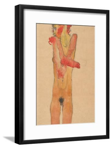 Nude Girl with Folded Arms, 1910-Egon Schiele-Framed Art Print