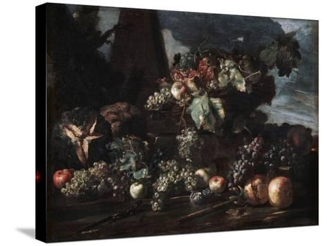 Still Life with Grapes, 17th Century-Michelangelo Pace del Campidoglio-Stretched Canvas Print