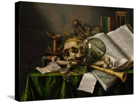 Vanitas, Still Life with Books, Manuscripts and a Skull-Edward Collier-Stretched Canvas Print