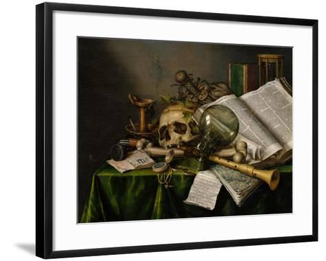 Vanitas, Still Life with Books, Manuscripts and a Skull-Edward Collier-Framed Art Print