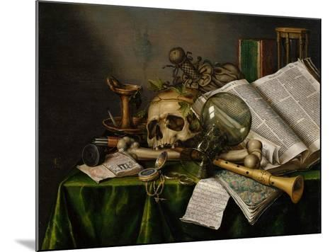 Vanitas, Still Life with Books, Manuscripts and a Skull-Edward Collier-Mounted Giclee Print