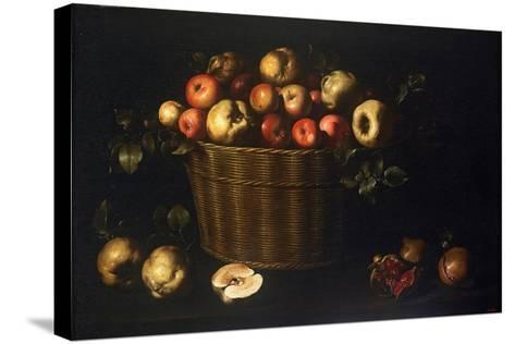 Basket with Apples, Quinces and Pomegranates-Juan de Zurbarán-Stretched Canvas Print