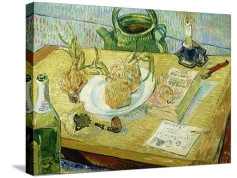 Still Life with a Drawing Board, Pipe, Onions and Sealing Wax-Vincent van Gogh-Stretched Canvas Print