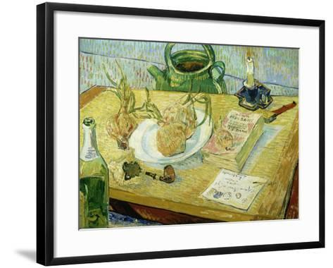 Still Life with a Drawing Board, Pipe, Onions and Sealing Wax-Vincent van Gogh-Framed Art Print