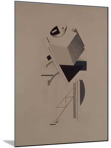 Strong Guy. Figurine for the Opera Victory over the Sun by A. Kruchenykh, 1920-1921-El Lissitzky-Mounted Giclee Print