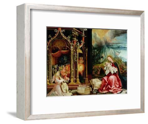 The Isenheim Altarpiece, Central Panel: Concert of Angels and Nativity, 1506-1515-Matthias Gr?newald-Framed Art Print
