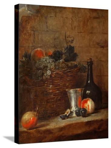 Fruit Basket with Grapes, a Silver Goblet and a Bottle, Peaches, Plums, and a Pear-Jean-Baptiste Simeon Chardin-Stretched Canvas Print
