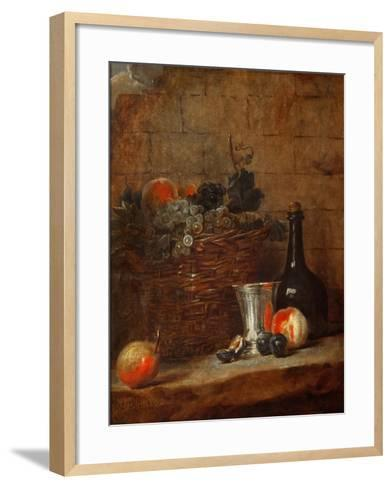 Fruit Basket with Grapes, a Silver Goblet and a Bottle, Peaches, Plums, and a Pear-Jean-Baptiste Simeon Chardin-Framed Art Print