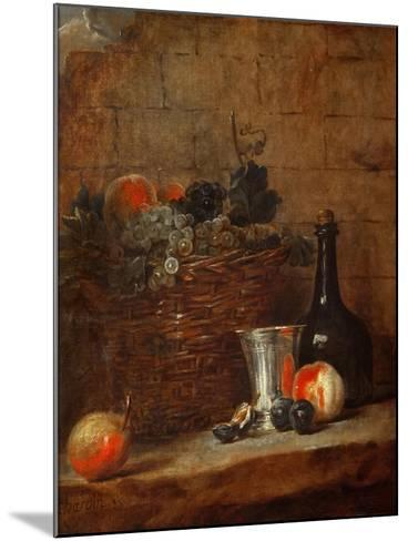 Fruit Basket with Grapes, a Silver Goblet and a Bottle, Peaches, Plums, and a Pear-Jean-Baptiste Simeon Chardin-Mounted Giclee Print