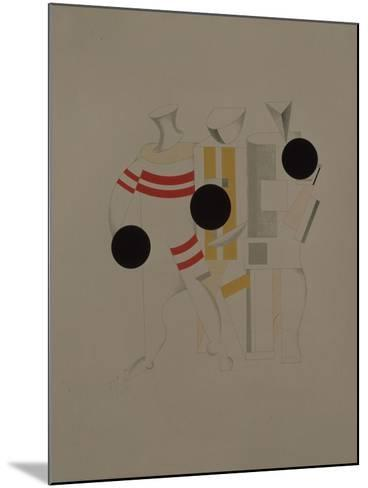 Sportsmen, Figurine for the Opera Victory over the Sun by A. Kruchenykh, 1920-1921-El Lissitzky-Mounted Giclee Print