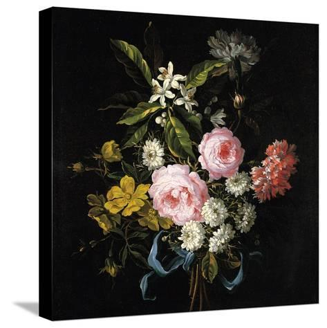 Bouquet of Chamomile, Roses, Orange Blossom and Carnations Tied with a Blue Ribbon-Jean-Baptiste Monnoyer-Stretched Canvas Print