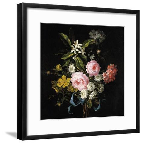 Bouquet of Chamomile, Roses, Orange Blossom and Carnations Tied with a Blue Ribbon-Jean-Baptiste Monnoyer-Framed Art Print