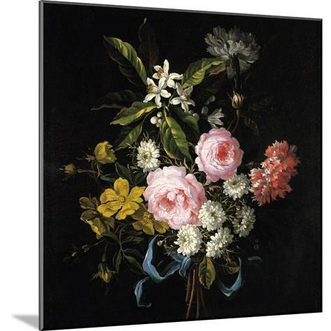 Bouquet of Chamomile, Roses, Orange Blossom and Carnations Tied with a Blue Ribbon-Jean-Baptiste Monnoyer-Mounted Giclee Print