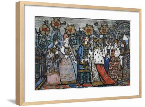 Illustration for the Fairy Tale of the Tsar Saltan by A. Pushkin-Sergei Vasilyevich Malyutin-Framed Art Print